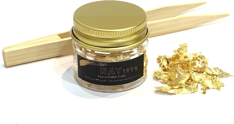 Edible Gold Leaf Flakes 30mg Jar Free Bamboo Tweezer, 24k Gold Leaf Foil for Food, Cake Decoration, Spa, Skin Care, Craft