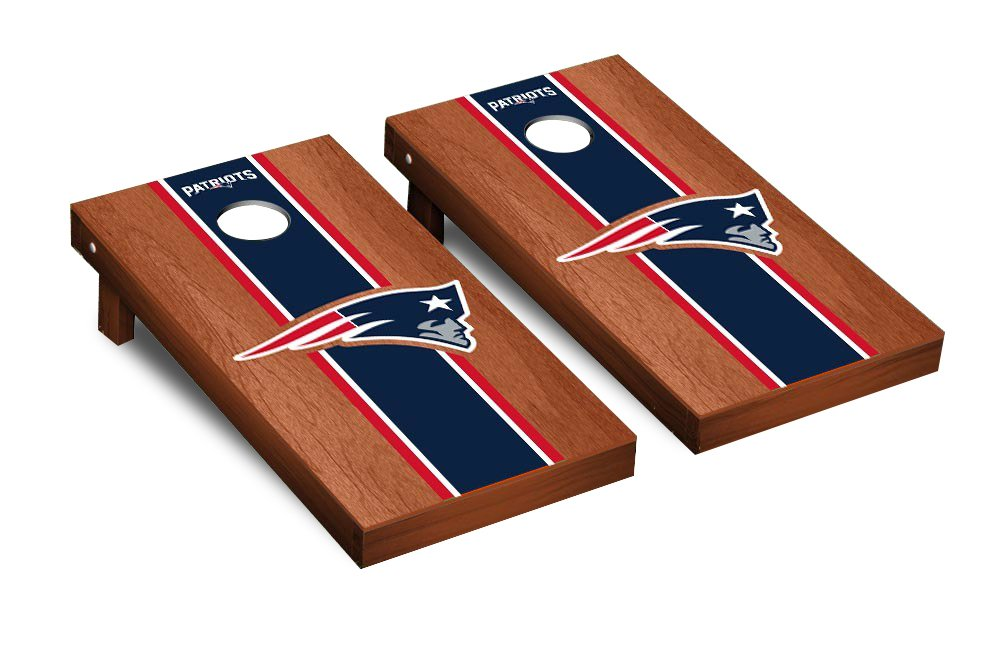 NFL New England Patriots Rosewood Stained Stripe Version 2 Football Corn hole Game Set, One Size