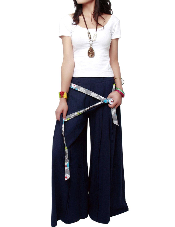 SUFEI Womens Linen Wide Leg Pants Loose Fitting Plus Size Oversized,Blue,Medium