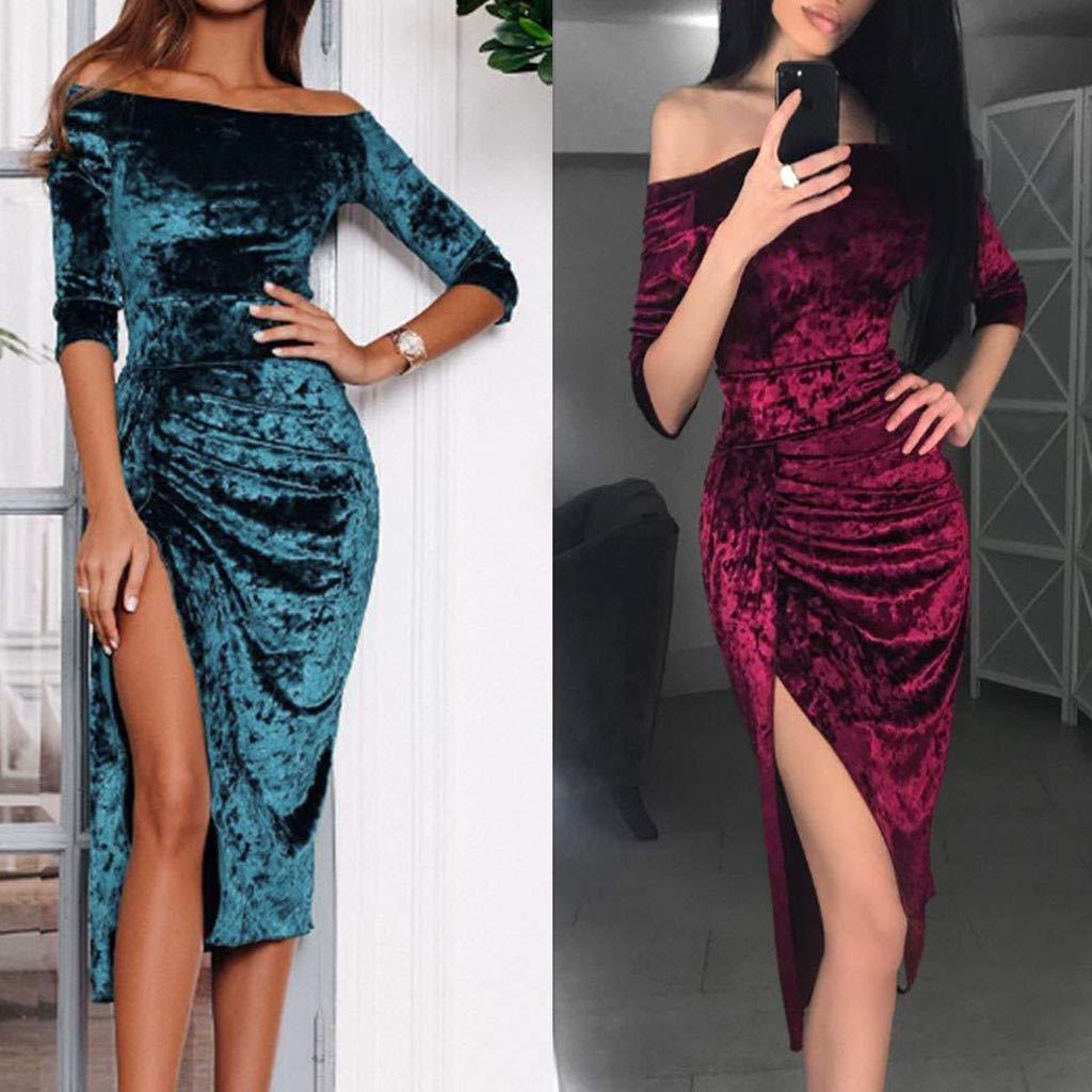 JPOQW-winter Women s Half Sleeve Dress Velvet Off Shoulder High Slit Solid  Knee-Length Evening Party Long Pencil Dress Gown at Amazon Women s Clothing  store ... 4721dd4b5