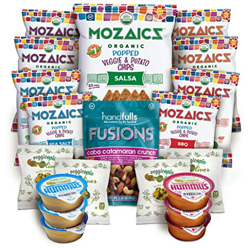 Best Sellers Snacks Premium Care Package - Great College Gift or Sampler, Healthy Variety Pack Single Servings - Mozaics Chips, Veggicopia Dips & Olives, Handfulls Fusions Nut Mix (20 Count)
