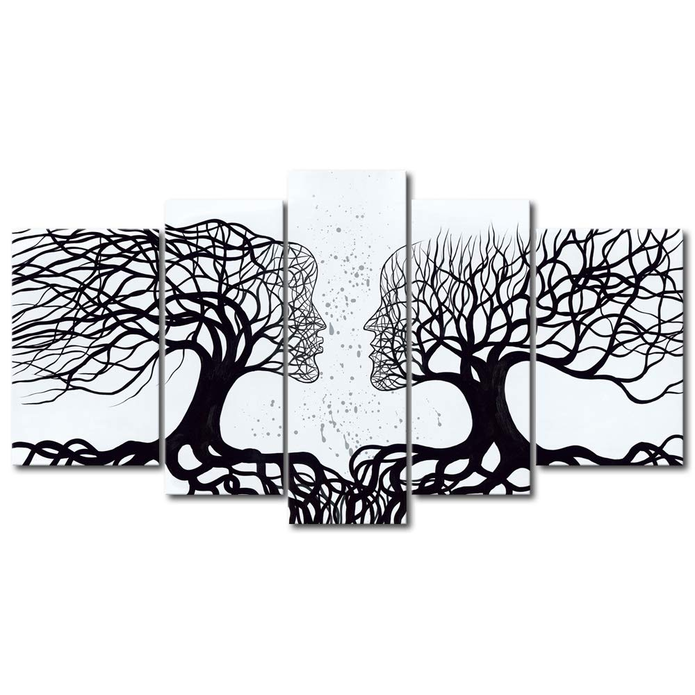 Wieco Art Wind Floating Tree 5 Panels Abstract People Oil Paintings on Canvas Wall Art Ready to Hang for Bedroom Home Decorations Modern Contemporary 100/% Hand Painted Stretched and Framed Artwork