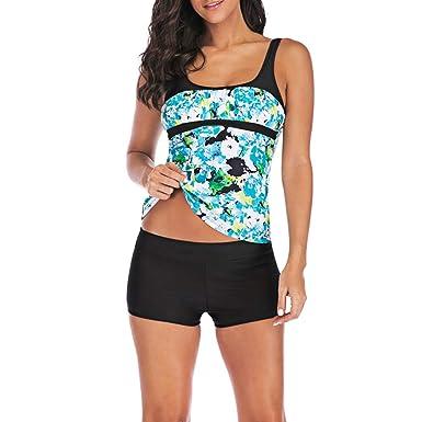 da003dcda0b Women s Plus Size Swimsuit High-Waisted Strappy Printed Separates Swimwear  Blue