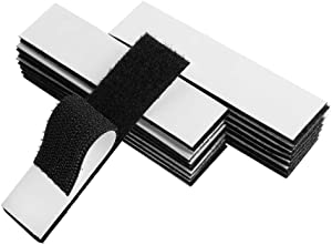 Melsan 1x4 inch Hook and Loop Strips with Adhesive - 15 Sets, Strong Back Adhesive Fasten Mounting Tape for Home or Office Use - Instead of Holes and Screws, Black