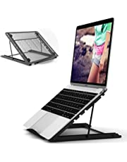 JUMKEET Laptop Stand,Foldable Portable Ventilated Desktop Laptop Holder,Universal Lightweight&Adjustable Ergonomic Tray Mount Compatible with iM(ac)/Laptop/Notebook Computer/Tablet (Black)