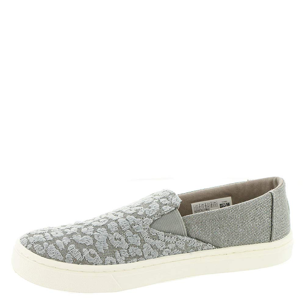 TOMS Neutral Grey Cheetah Embroidery Twill Glimmer Youth Luca Slip-Ons Shoes (12 M Little Kid) by TOMS Kids (Image #4)