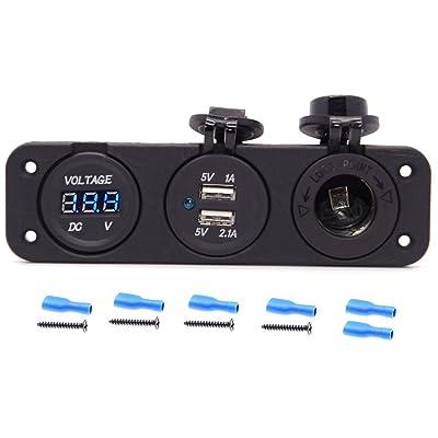 Cllena Triple Function Dual USB Charger + Blue LED Voltmeter + 12V Outlet Socket Panel Jack Marine for Digital Devices Mobile Phone Tablet: Electronics