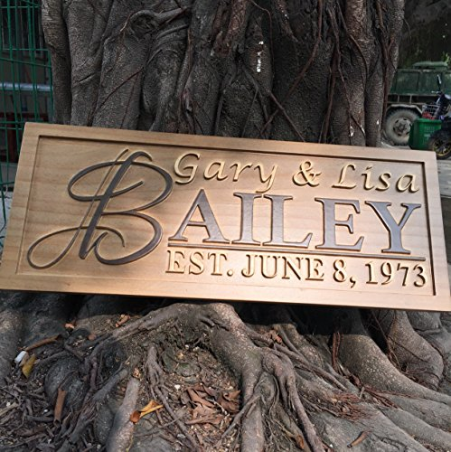 - ADVPRO wpa0002 Personalized Custom Wedding Anniversary Family Sign Surname Last First Name Rustic Home Décor Housewarming Gift 5 Year Wood Wooden Signs
