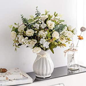 YILIYAJIA Artificial Rose Bouquets with Ceramics Vase Fake Silk Rose Flowers Decoration for Table Home Office Wedding (Beige)