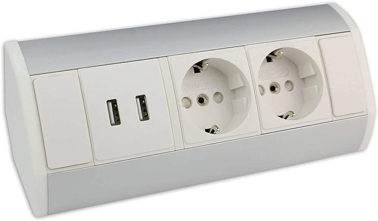 Intégrées table prise de courant 3 positions 2x USB prise de courant sol quelque Prise Câble