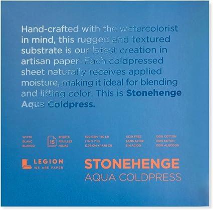 """Stonehenge Aqua Watercolor Paper 140lb Cold Press 10x14/"""" Block of 15 Sheets"""