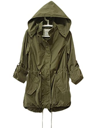 Amazon.com: Toshoo Womens Hoodie Drawstring Army Green Military ...