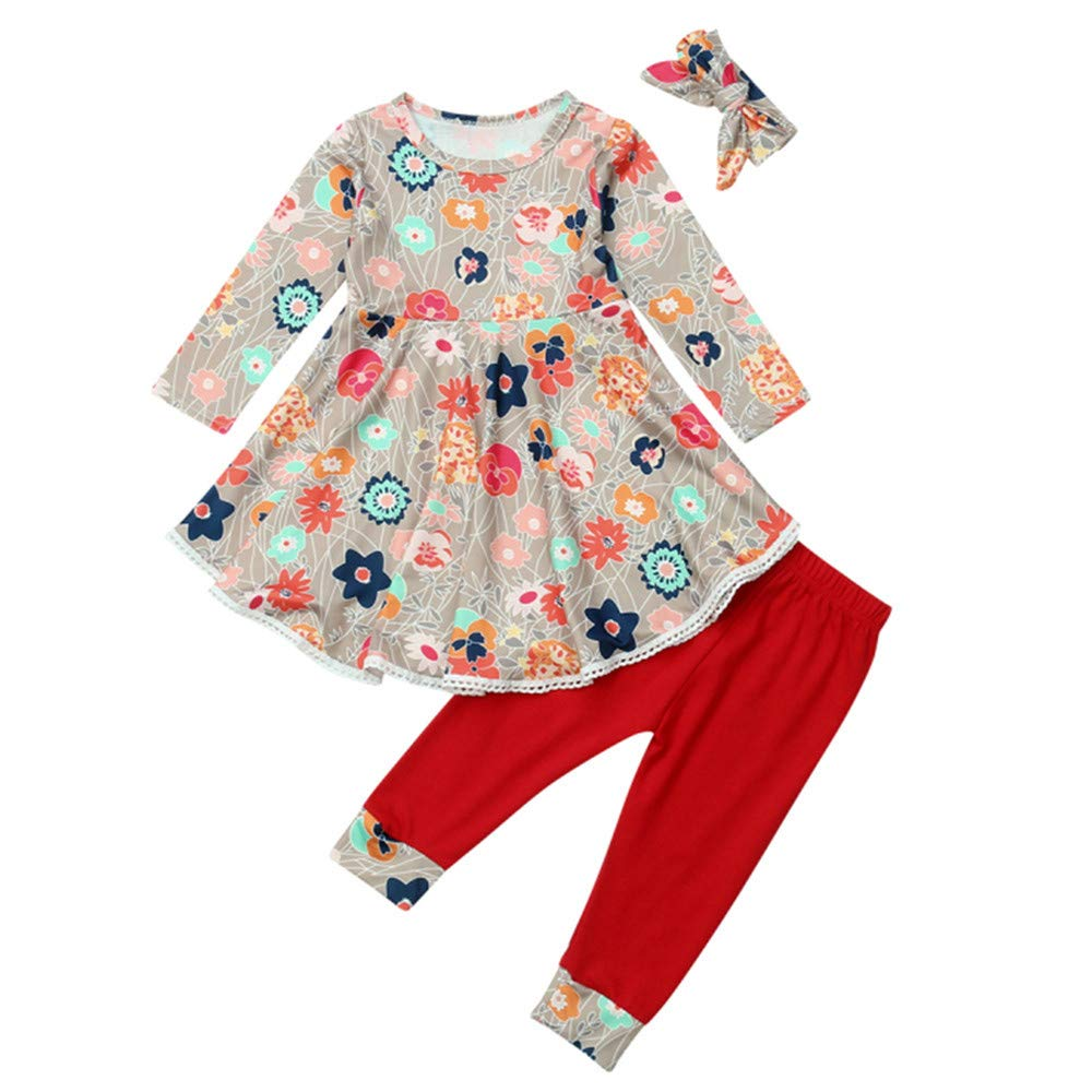 NUWFOR Toddler Baby Girls Floral Print Drees Pants Headband Outfits Clothing Set(Red,2-3 Years