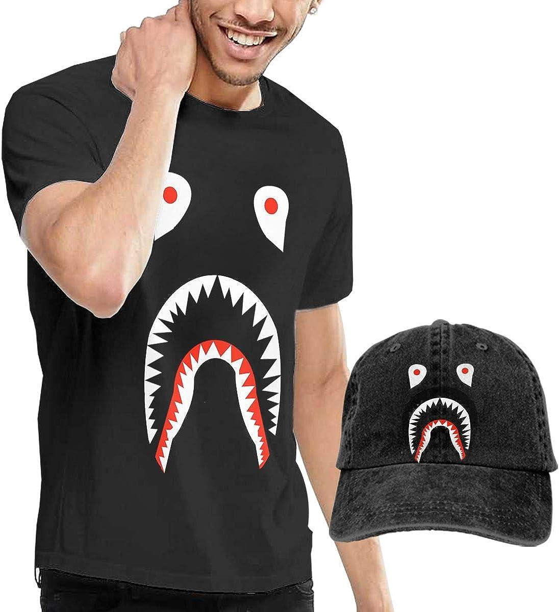 Bape Men's Classic Short Sleeve Crew Neck T-Shirt + HAT Combo