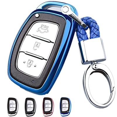 Mofei for Hyundai Key Fob Shell Cover Case TPU Protector Holder with Key Chain Compatible with Hyundai Tucson Elantra Sonata I40 IX35 I45 Smart 4 5 Buttons Remote Keyless Entry (Blue): Automotive