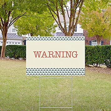 Nautical Wave Double-Sided Weather-Resistant Yard Sign 18x12 Warning CGSignLab