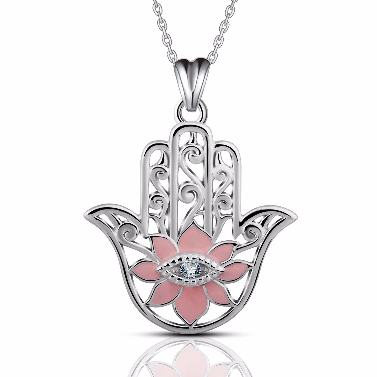 EUDORA Evil Eye Sterling Silver Hamsa Hand of Fatima Khamsa Necklace Pendants for Mother Gifts for Her 18'' Pink