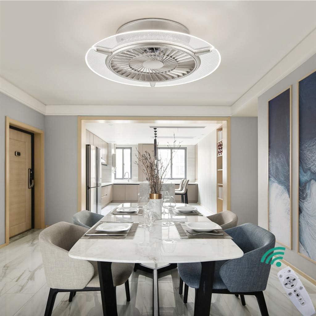 Unsichtbares Fan Licht Einstellbar LED Deckenventilator Mit Beleuchtung Schlafzimmer Deckenleuchte Dimmbar Einfache Wohnzimmer Leuchte Fernbedienung Leise Ventilator Kinderzimmer Lampe,Silber,hexagon