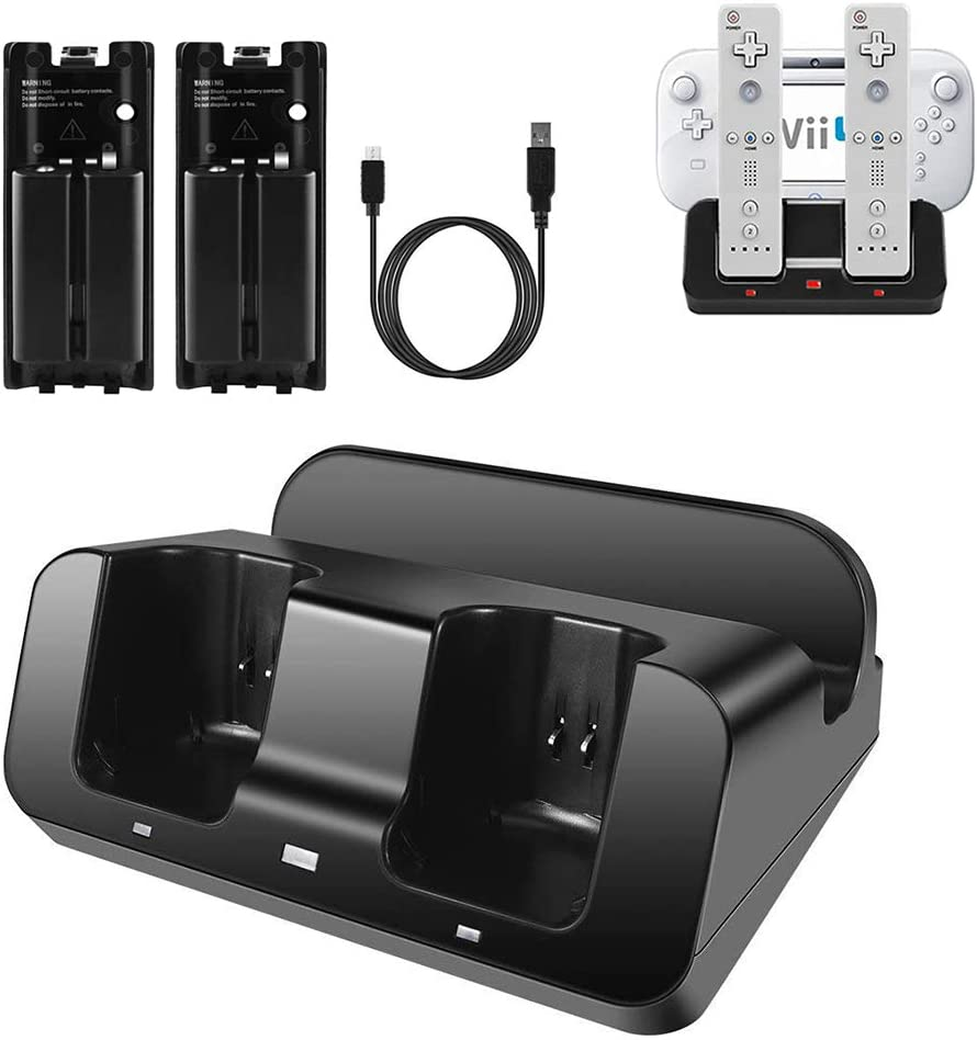 Wii U Charger, Wii Charging Station Wii Dock Stand for Wii Remote & Wii U Gamepad, 2pcs 2800mAh Batteries & Charging Cord -Black