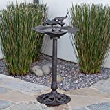Great Deal Furniture Lancaster Outdoor Bronze Finished Aluminum Top Bird Bath with Iron Base