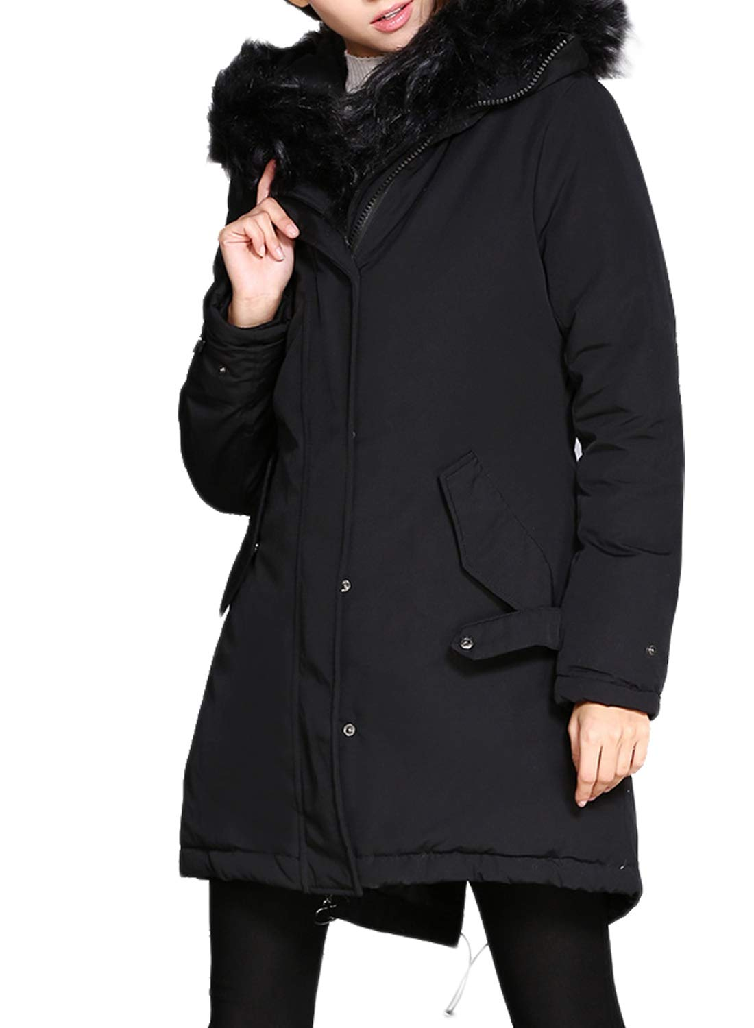 HOTAPEI Women's Fashion Winter Faux Fur Lined Hooded Parka Jacket Coat Hood Outwear Winter Parka Storm Coats Open Front Heavy Down Parka Black L