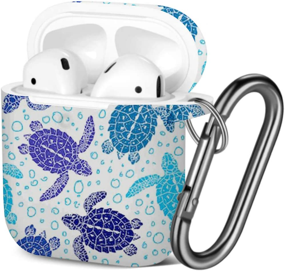 Shockproof Soft TPU Gel Case Cover with Keychain Carabiner for Apple AirPods Turtles Silhouette Compatible with AirPods 2 and 1