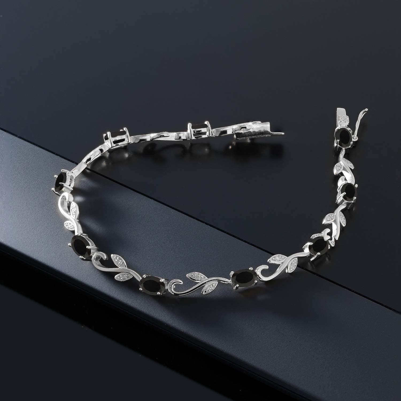 Gem Stone King 925 Sterling Silver Black Onyx and Diamond Greek Vine Tennis Bracelet 3.64 Ct Gemstone Birthstone 7 Inch