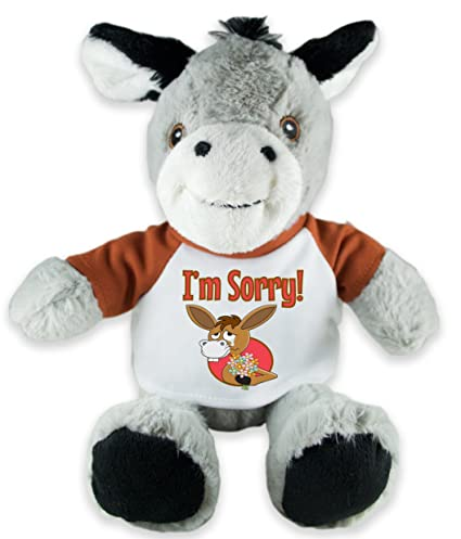 8aa041cea8c Amazon.com  Flutter Hut I m Sorry Donkey Plush with Message T-Shirt ...