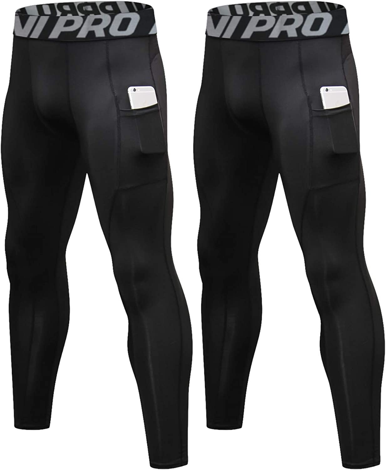 VANVENE Compression Leggings for Men Quick Dry Running Tights Base Layer Training Gym Trousers