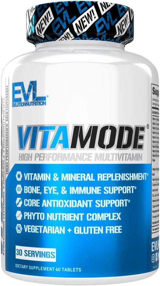 Evlution Nutrition VitaMode High Performance Men's Multivitamin, Full Spectrum Vitamins & Minerals, Immune Health, Vitamin C & D, Zinc, Antioxidants, Skin, Hair, Bone, Eye Health (30 Servings)