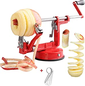 Corer Peeler, Apple Peeler Corer Slicer Stainless Steel 3 in 1 Heavy Duty with Suction Grips Base Peelers Apple Pear Potato Applesauce Cider Apple juice Apple Pie Tools Peelers for Kitchen (Red)