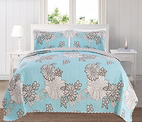 Great Bay Home 3-Piece Printed Quilt Set with Shams. Bright All-Season Cotton-Polyester Bedspread with Beautiful Floral Pattern. Bloomsbury Collection By Brand. (Full/Queen, Icy Morn) Bright Quilt