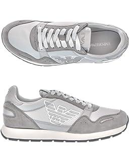 9db973b4533f2 Emporio Armani Scarpe Uomo Leather Sneakers with High Rubber Outsole ...