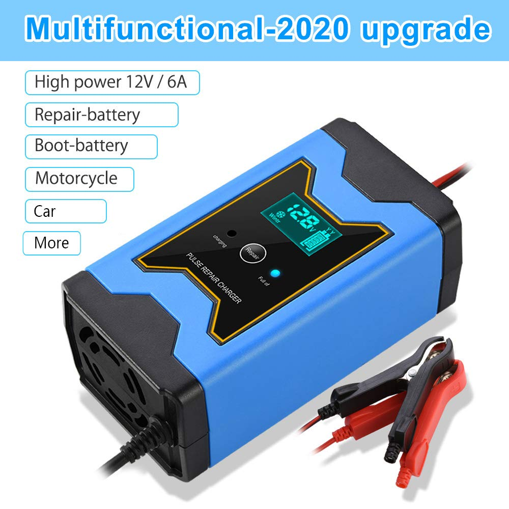 Enhanced Edition Car Battery Charger 12V//6A Automotive Smart Portable Battery Charger Maintainer//Pulse Repair Charger Pack Jump Starter for Car Lawn Mower and More Motorcycle
