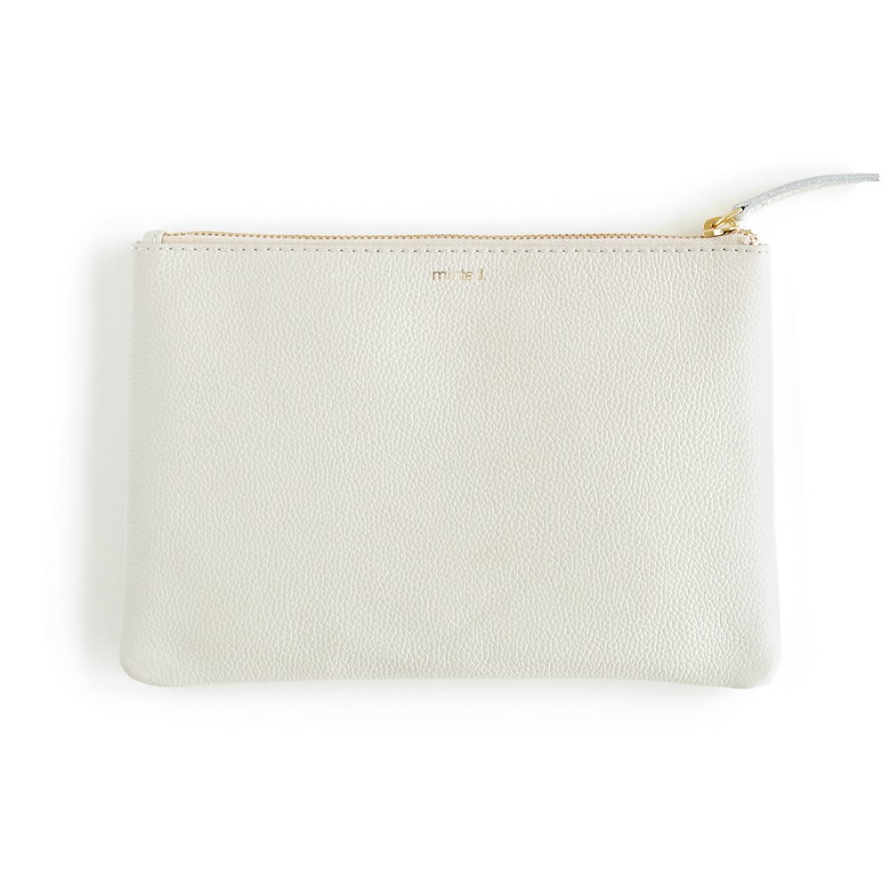 Minted Cloud Grey Leather Everyday Clutch