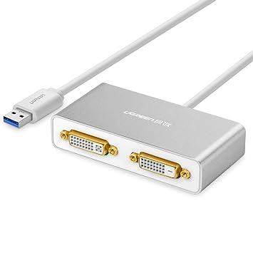 Ugreen Adaptateur USB 3.0 vers 2 DVI/HDMI/VGA Carte Graphique Supporte 2048x1152 Maximum , Compatible avec Windows 10/ 8.1/ 8/ 7/ Vista/ XP, Mac OS 10.6 to 10.11 El Capitan, DisplayLink DL-3900, Boîtier en Aluminium