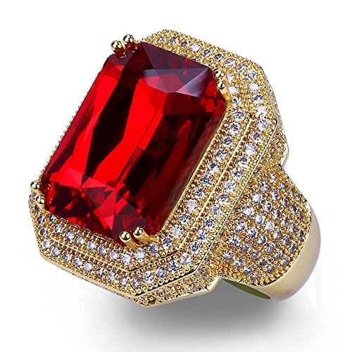 TOPGRILLZ 18K Hip Hop Men Gold Plated Zircon Iced out Cushion Ruby Punky Ring