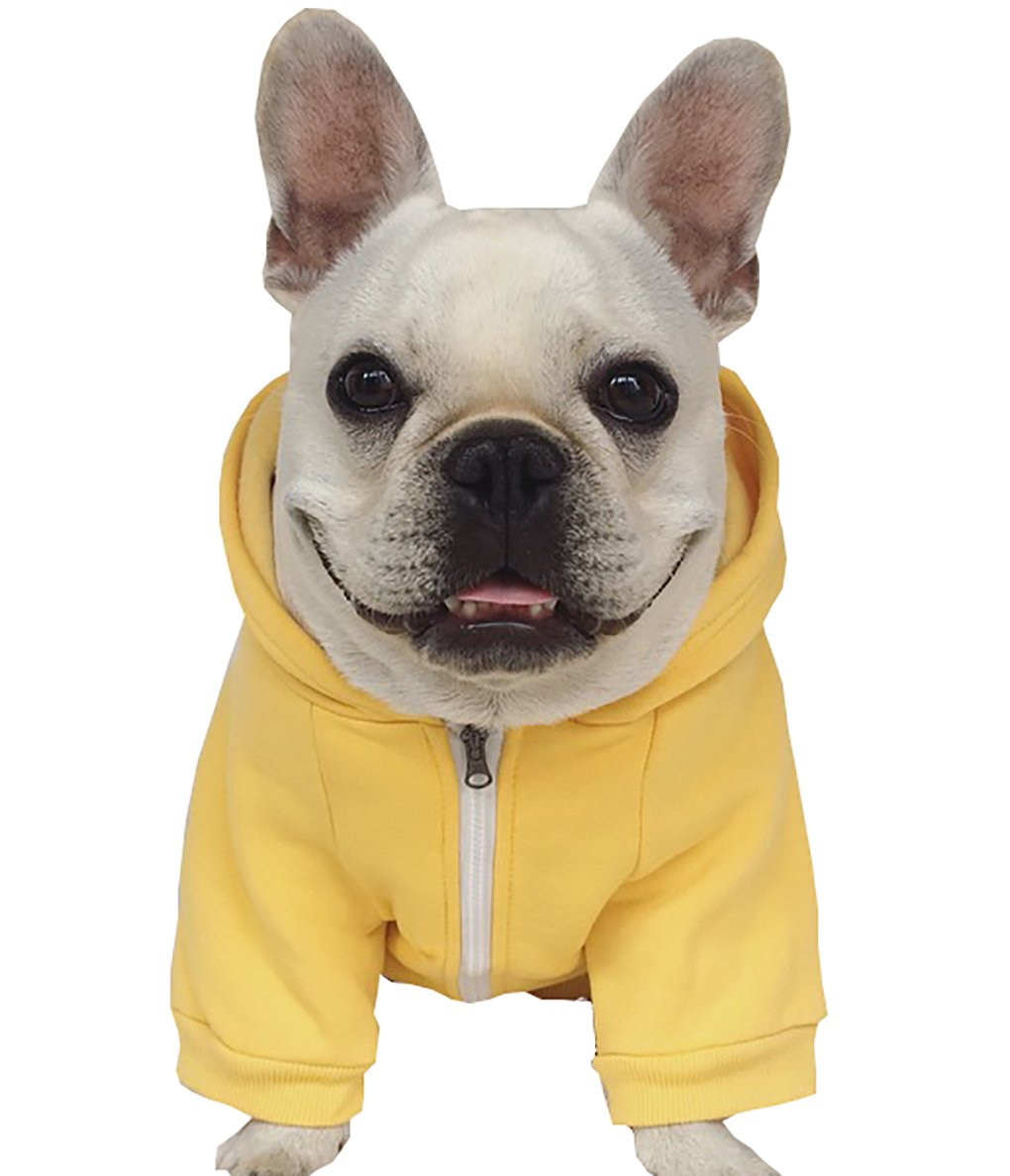 Moolecole Zip-up Hoodie Pet Costume Dog Hoodies Clothes Outfit Funny Pet Hooded Apperal for French Bulldog and Pug Yellow 2XL