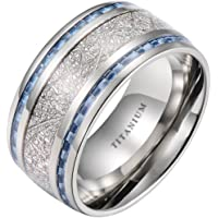 Mens Titanium Ring- 10mm- Meteorite Inlay Wedding Band Ring With Blue Carbon Fiber