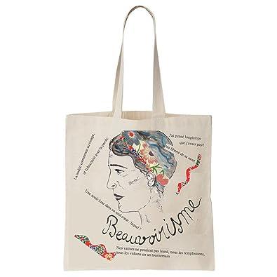 ArteCita ECO Fashion Tote Bag Imprimé Ecru - Toile en coton bio - Simone de  Beauvoir 2631ee59cd3