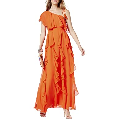 Amazon Inc Womens Crepe Cascade Ruffle Semi Formal Dress Orange