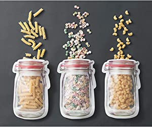 Fast and Good Zipper Reusable Food Storage Snack Candy Sandwich Bags-Mason Jar Shape,Large, 6 Pcs(Red)