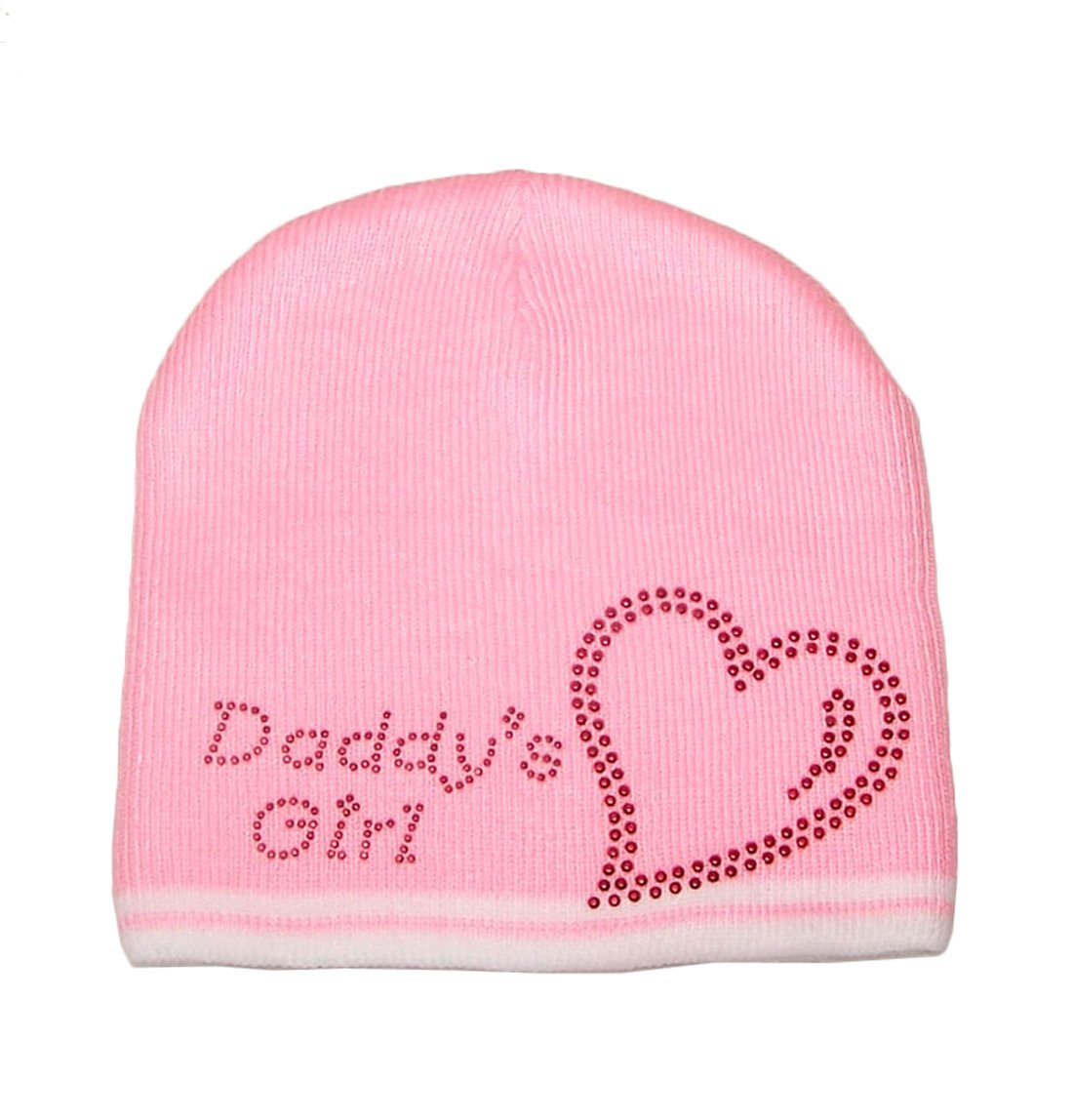 Red Love Heart Daddys Girl Ski Pink Knit Beanie Hat