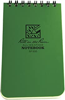 "product image for Rite in the Rain Weatherproof Top-Spiral Notebook, 3"" x 5"", Green Cover, Universal Pattern (No. 935)"