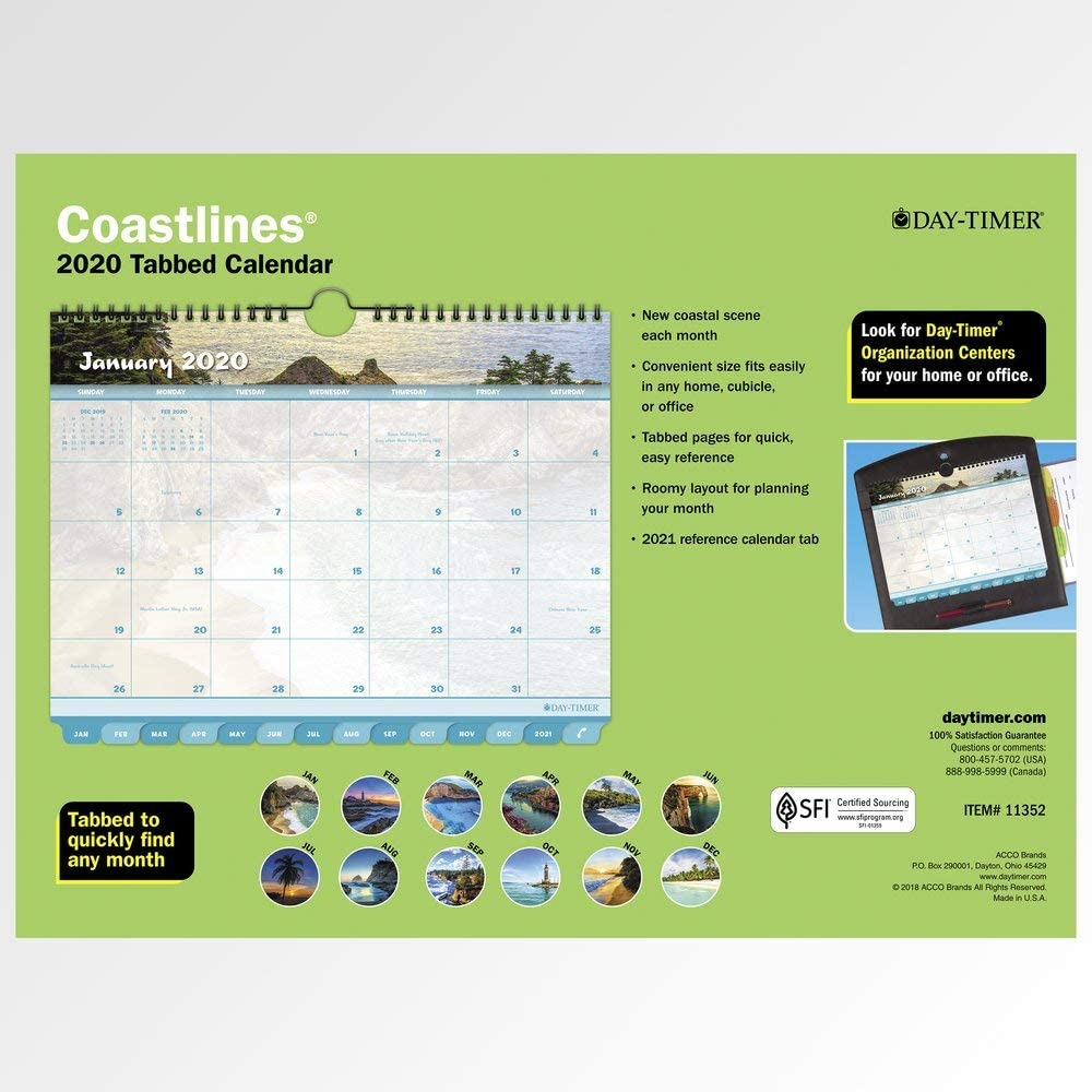 88464 Large Coastlines 8-1//2 x 11 Day-Timer 2020 Weekly Planner /& Organizer