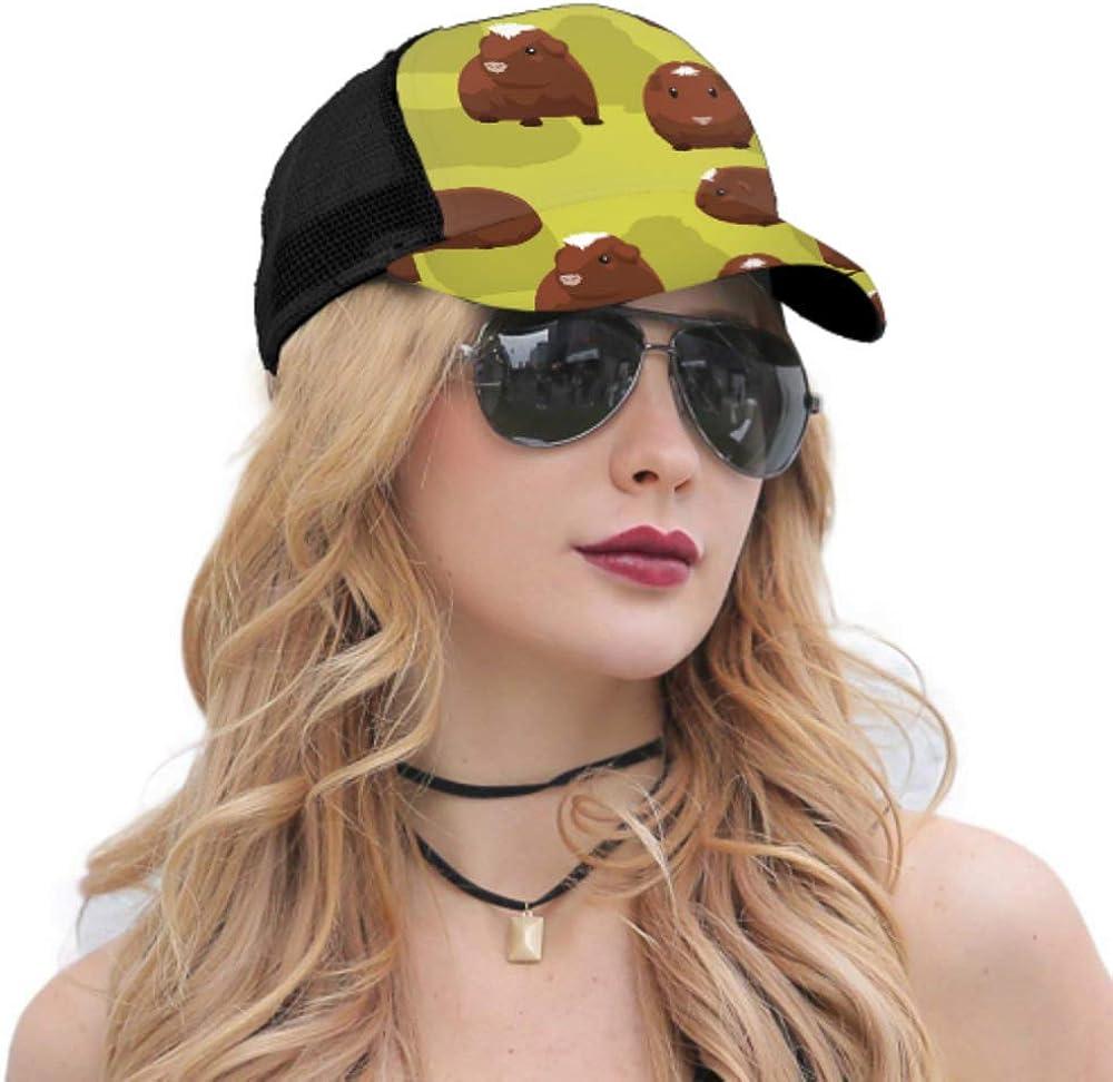 Baseball Cap Guinea Pig White Crested Cartoon Adjustable Mesh Unisex Baseball Cap Trucker Hat Fits Men Women Hat