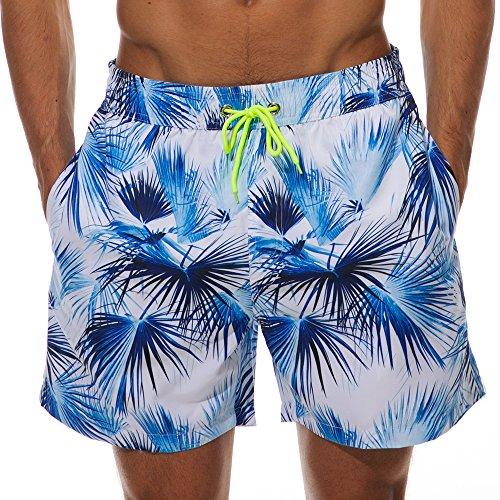 - SilkWorld Men's Swim Trunks Printed Surfing Beach Shorts Mesh Lining(US M Size-Asian Tag XL, Waist 32.5