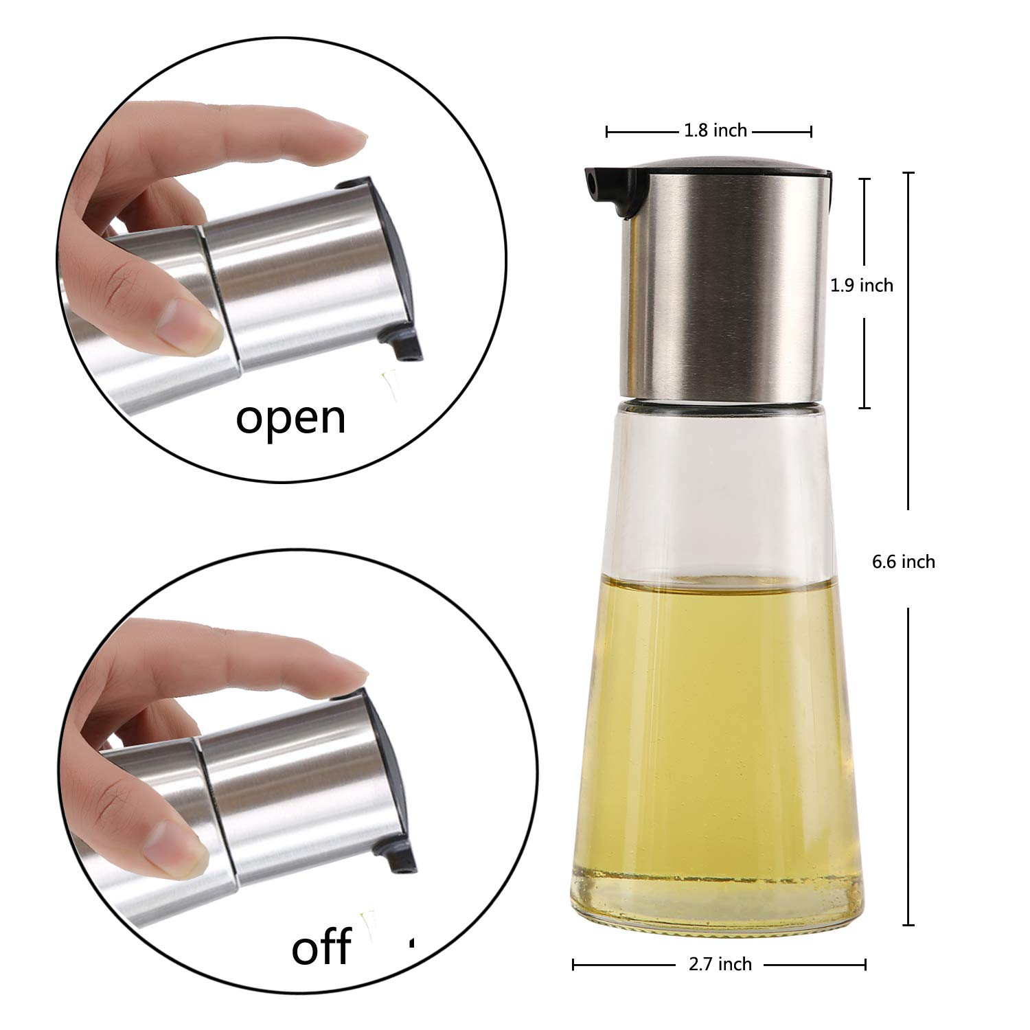Olive Oil Dispenser Bottle Set Of 2, clear Drip-Free, Widening The Oil Inlet, Thickened Glass (8Oz / 230ml Black02)