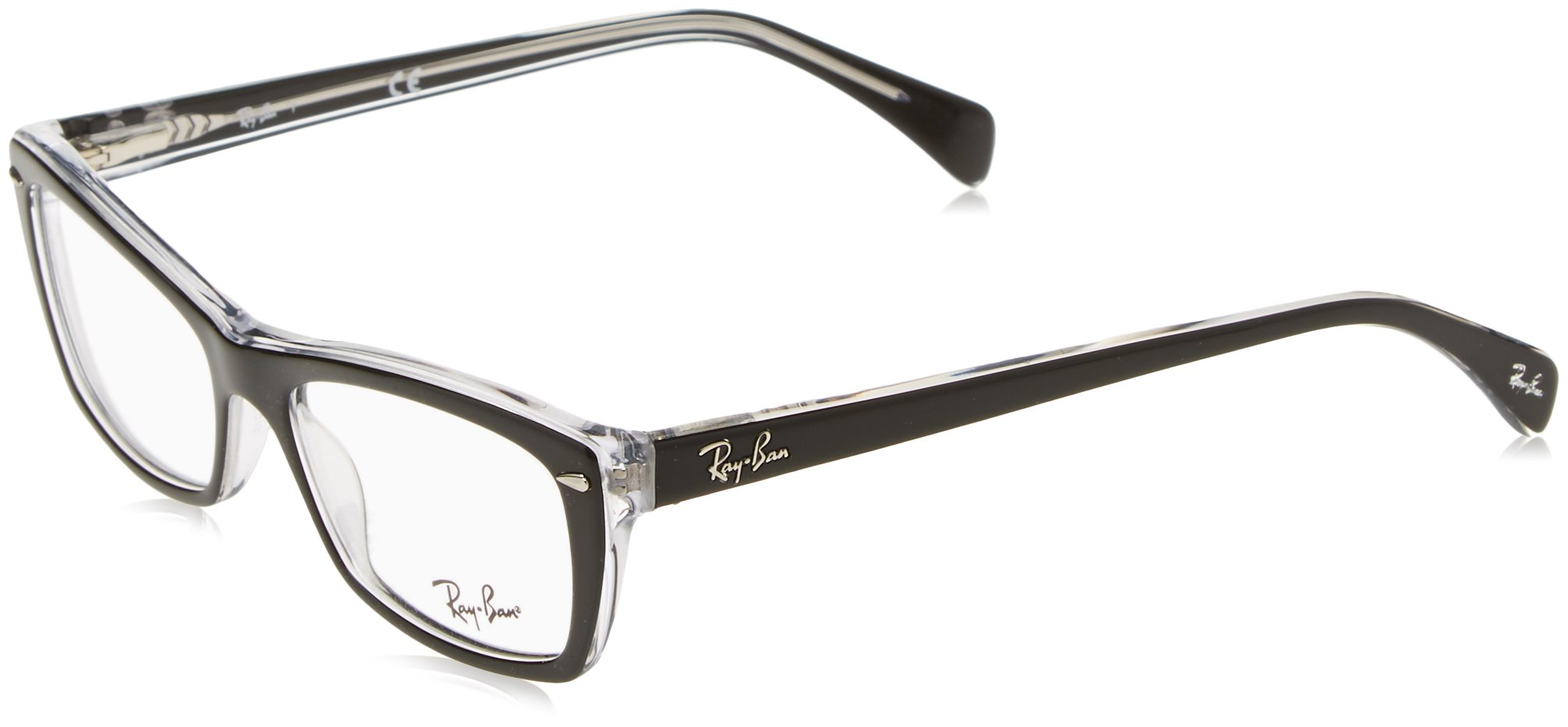 Ray-Ban Women's Rx5255 Square Eyeglasses,Top Black & Transparent,51 mm by Ray-Ban