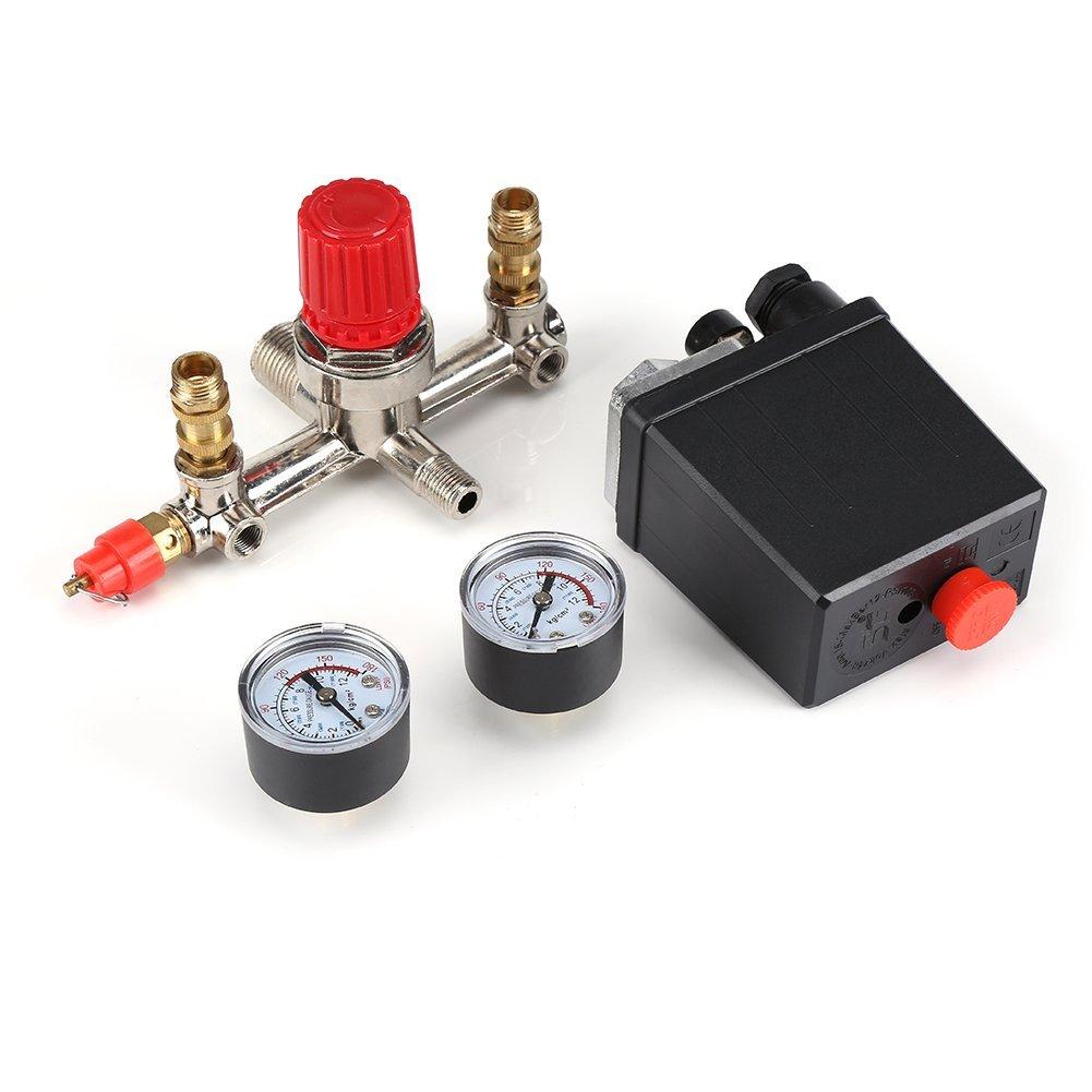 Fdit Interrupteur de pression de compresseur dair avec vanne de s/écurit/é double calibre et contr/ôle de pression avec r/égulateur de pression 120 PSI